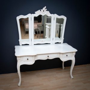 Triple Mirror Dressing Table - White