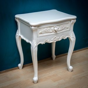 Carved Nighstand - White