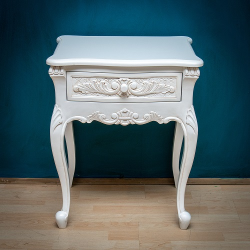 French Carved Nightstand - Antique White