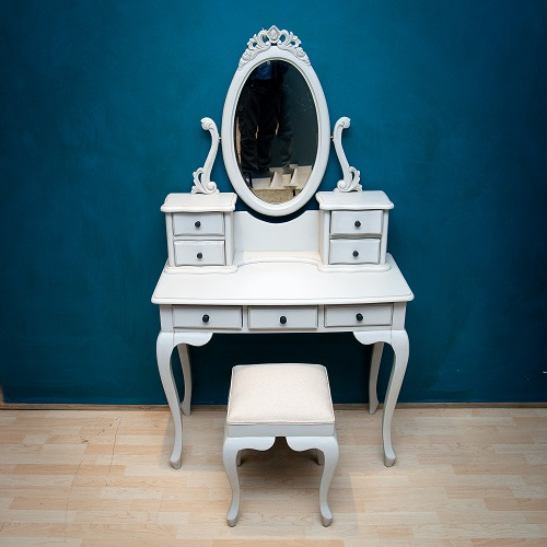 French Grey Dressing Table and Stool
